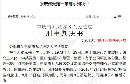 渝隆资产原财务总监受贿36万缓刑 中航信托员工送贿