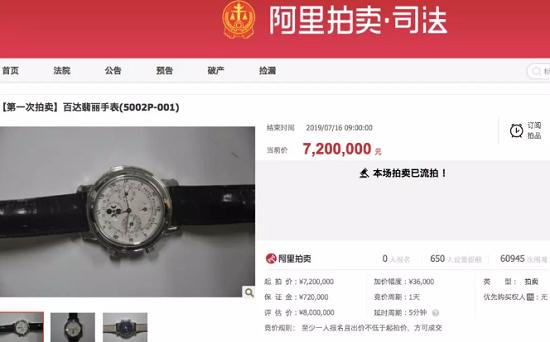 6万人围观!一块1000万元的百达翡丽在淘宝拍卖  它的原主人可不简单